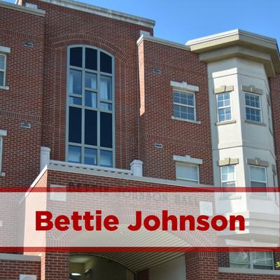 exterior of bettie johnson hall. brick.