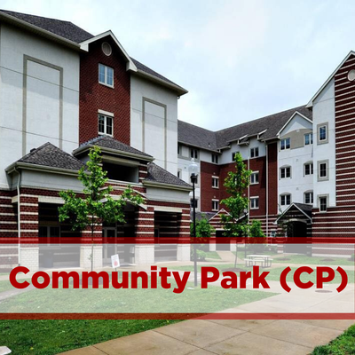 exterior of community park. outdoor courtyard in front of entrance. brick.