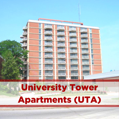 exterior of university tower apartments. each unit has a balcony and window