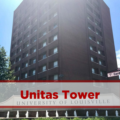exterior of unitas tower. brick. eleven stories