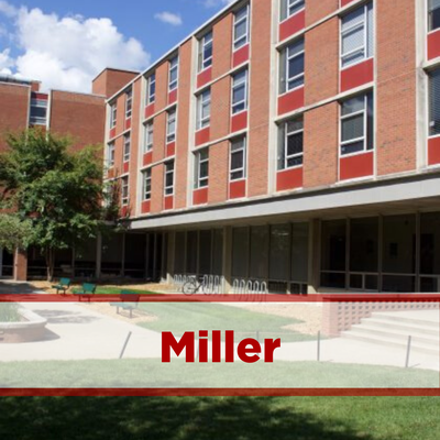 exterior of miller. brick, four stories with courtyard