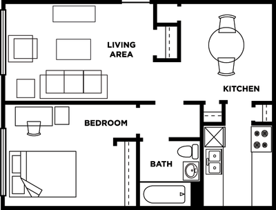 One bedroom, one bathroom floorplan at Cardinal Towne