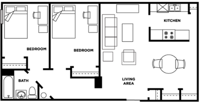 Two bedroom, one bathroom at Cardinal Towne