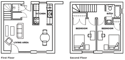 Two bedroom, one bathroom townhome (floorplan A) at Cardinal Towne