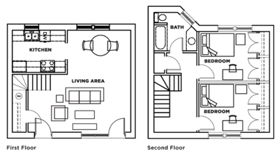 Two bedroom, one bathroom townhome (floorplan B) at Cardinal Towne