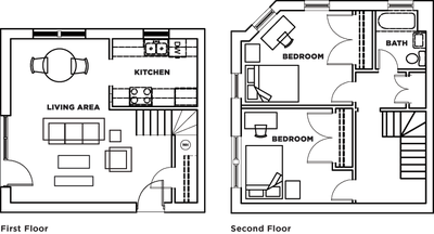 Two bedroom, one bathroom townhome (floorplan C) at Cardinal Towne