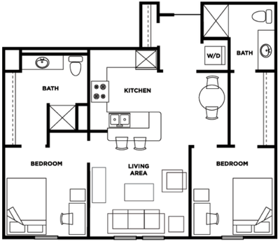 Two bedroom, two bathroom at Cardinal Towne