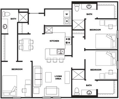 Three bedroom, three bathroom at Cardinal Towne