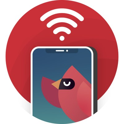 photo of cardinal bird with cell phone and wifi signal