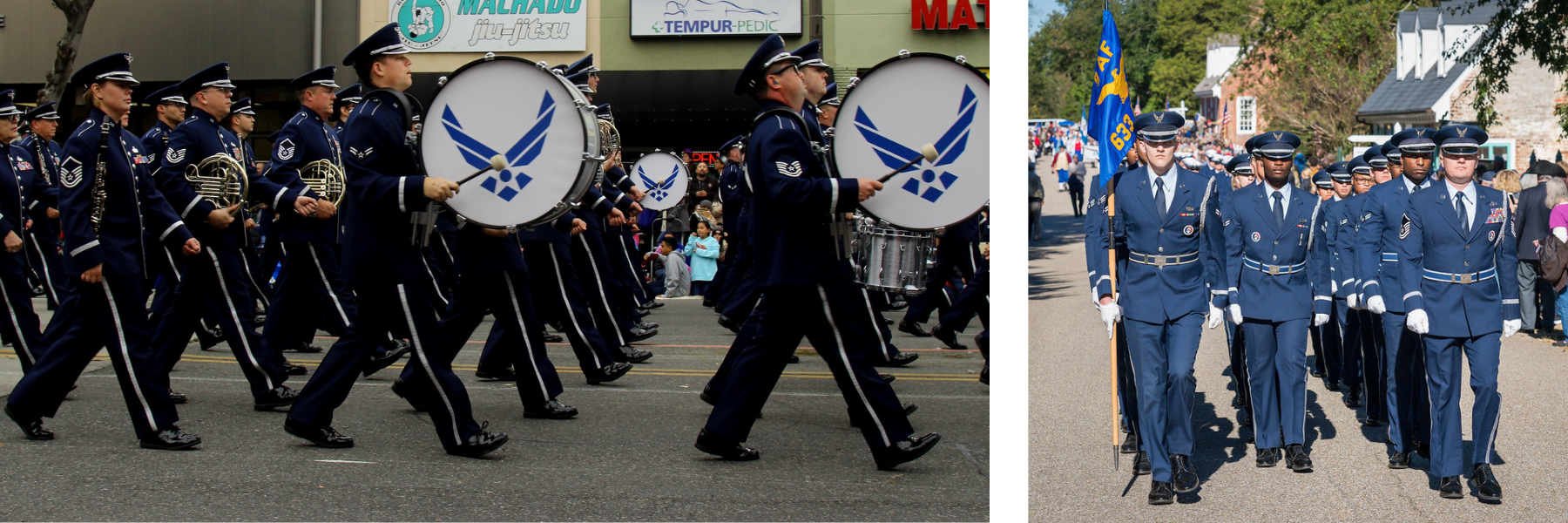 air force members marching in parade