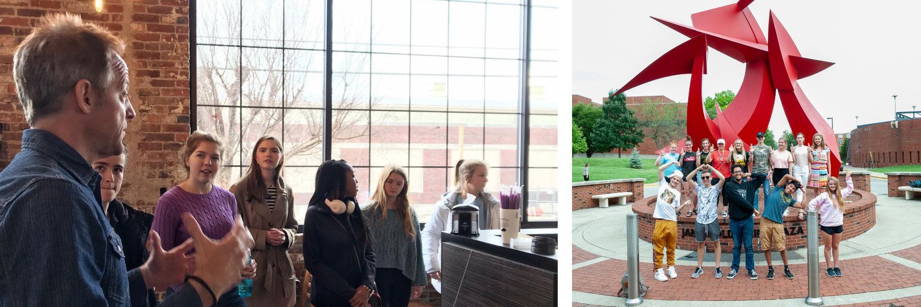 on left, advisor talking to students a Heinie Brother's Coffee on group visit. on right, students spelling cards in front of school of business