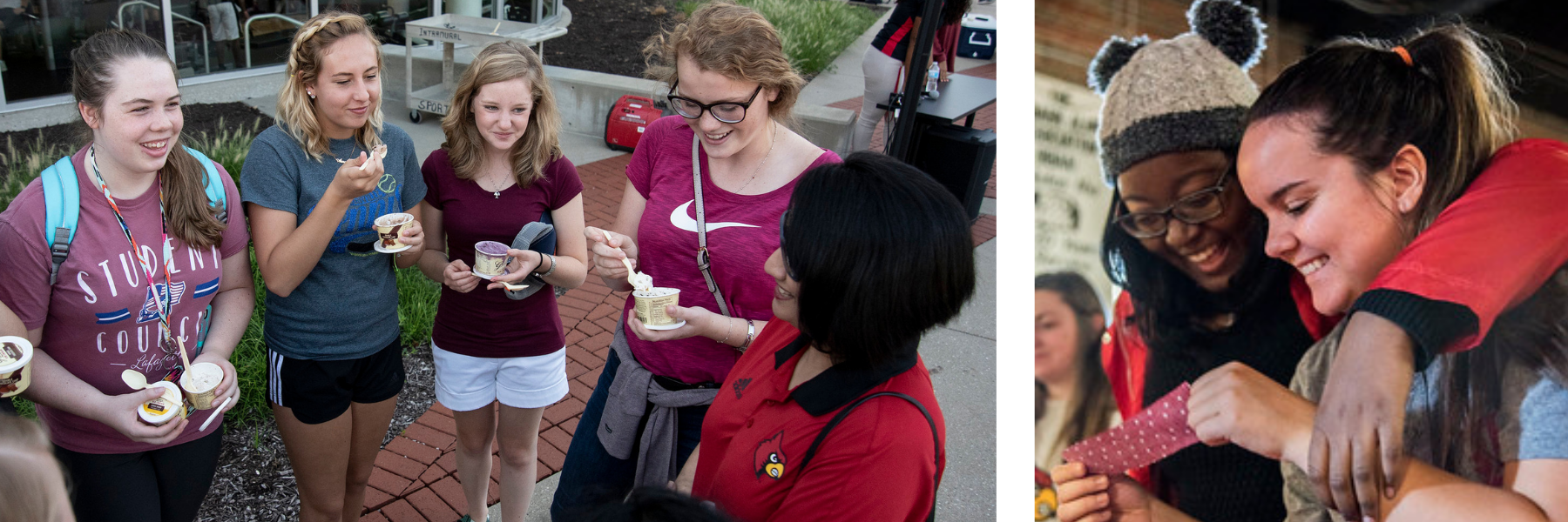 photo of students smiling eating ice cream with president of university