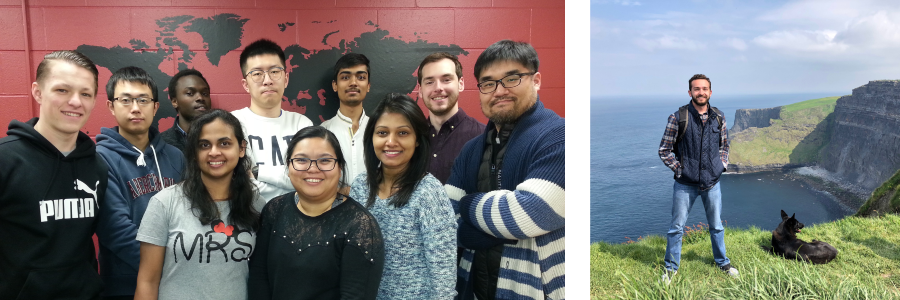 international students in front of wall with world map. Student studying abroad in Ireland on right.