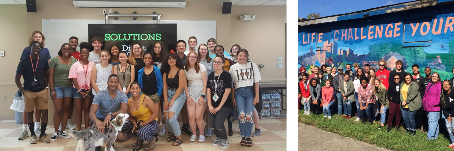 two photos of students smiling in front of a powerpoint presentation and students in front of a community mural