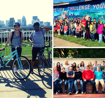students of different communities smiling, riding bicycles, and enjoying time together