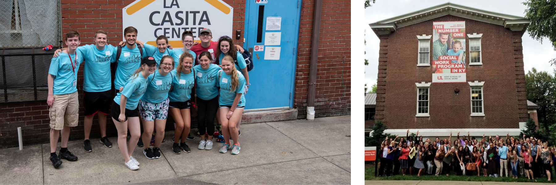 students volunteering at La Casita Center and smiling in front of Kent School of Social Work