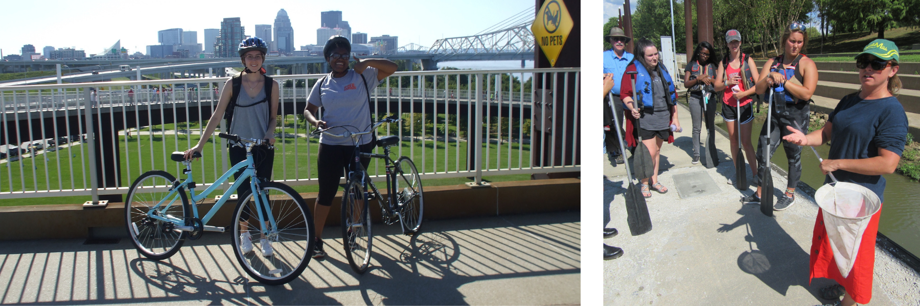 students smiling with bikes on pedestrian bridge in Louisville. Students learning about water and marine biology on trip in Louisville.