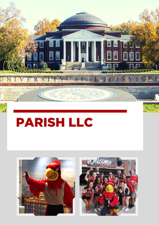 photo of uofl presidents office and cardinal mascot with cheerleaders and housing staff