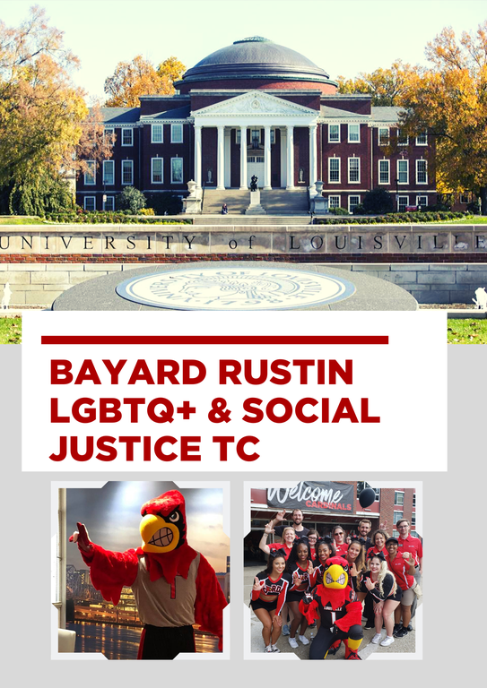 photo of uofl presidents office, cardinal mascot, and students smiling