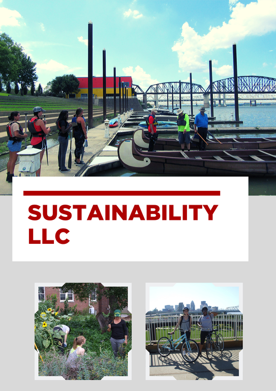 image of sustainability llc members kayaking on ohio river, gardening, and riding bicycles