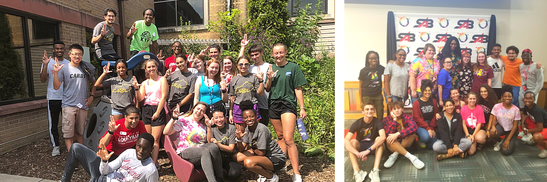 honors living-learning community members outside on campus smiling. Members are also pictured at an event hosted by the Student Activities Board