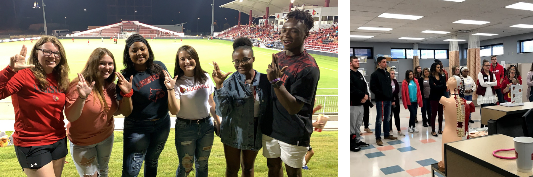 students smiling at a soccer game and students learning about anatomy in a health sciences classroom