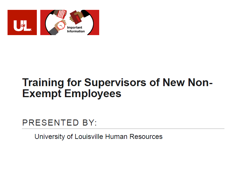 Link to the Training for Supervisors of New Non-Exempt Employees