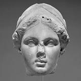 Statue head of ancient greek goddess Nike