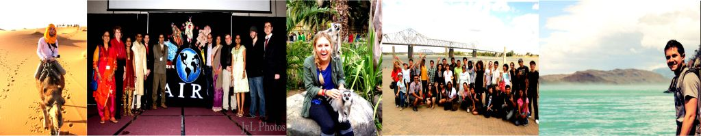 Collage of five images of students in international locations