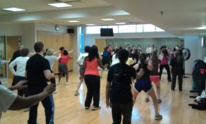 Mixed group doing Aerobic dancing