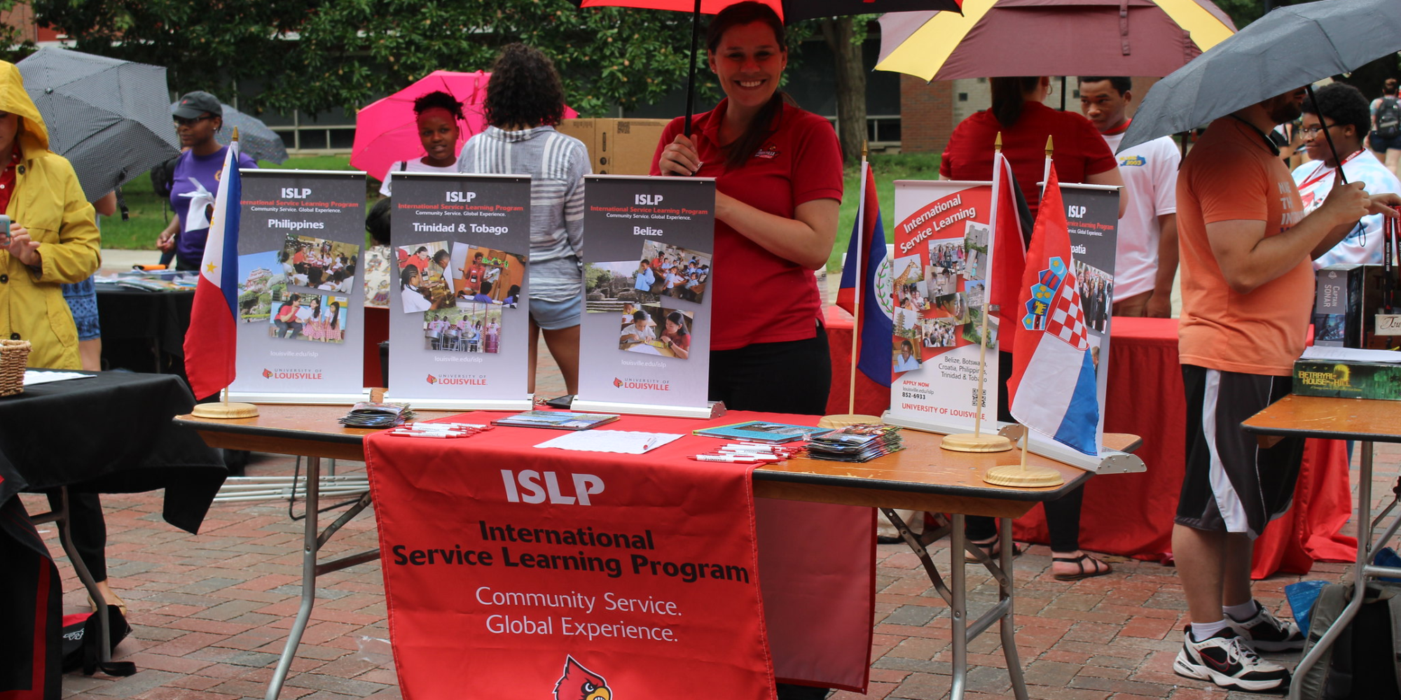 I.S.L.P. table at the R.S.O fair displaying information on visiting other countries.