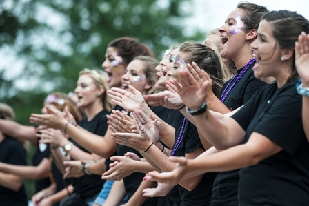 sorority members cheering