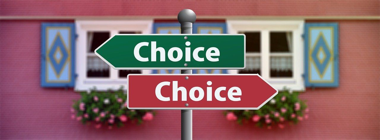 two directional street signs that read choice pointing in opposite directions