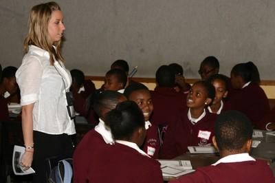 A U of L student address a classroom in Botswana
