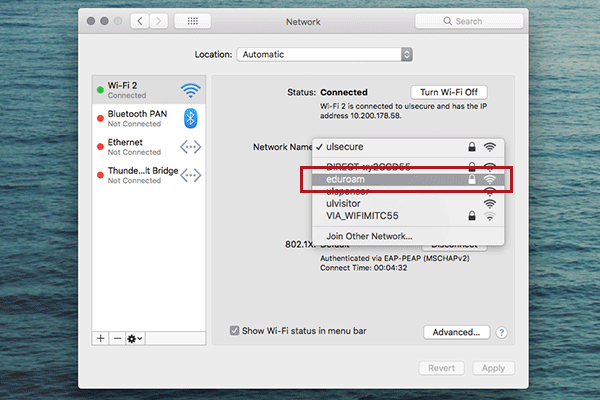 WiFi selection screenshot Mac