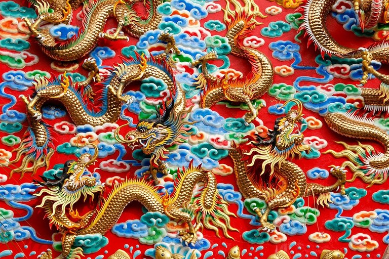 Illustration of classic Chinese dragon figurines