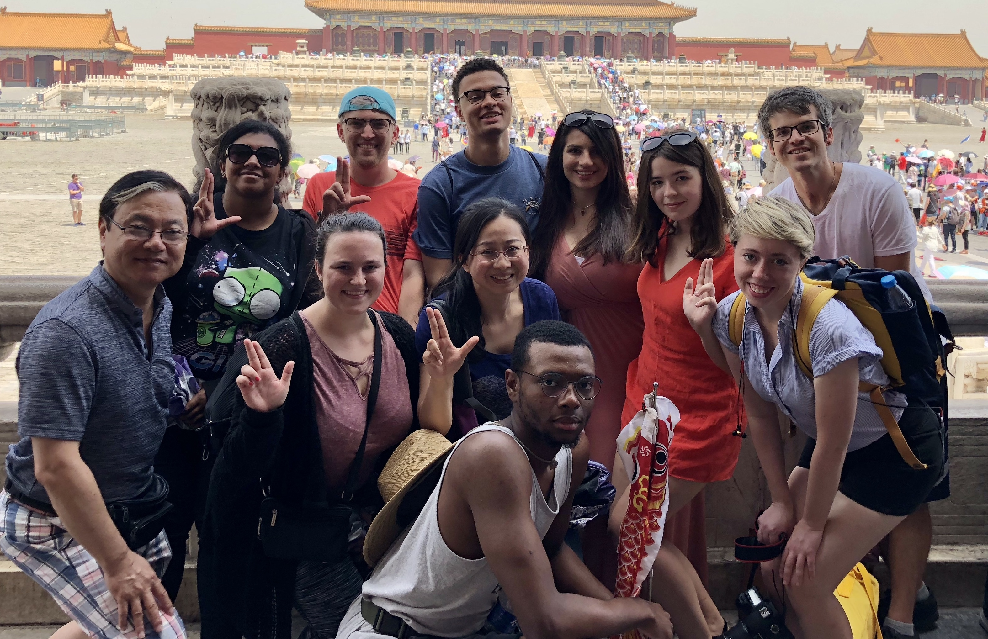 Professors and students of Chinese language on a study abroad trip in 2018.