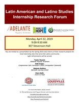 Latin American and Latino Studies Spring Internship Research Forum
