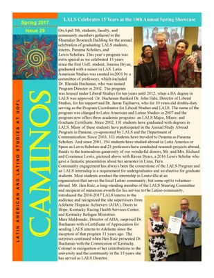 Caminos newsletter cover spring 2017 issue 29, refer to spring 2017 pdf for full details