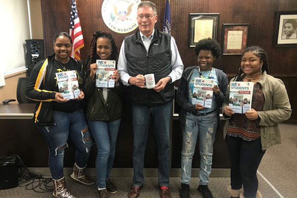 KBF President Harvey Johnston meets with Central High students.
