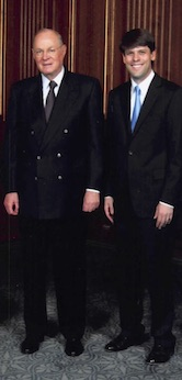 Justice Anthony Kennedy and Justin Walker. Walker clerked for Justice Kennedy from 2011-2012.