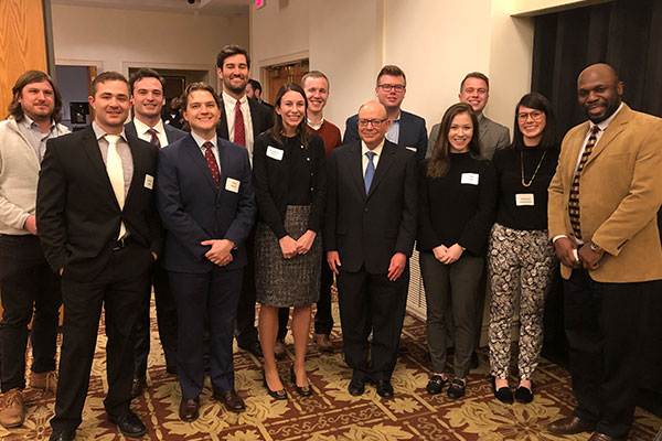 Professor Marc Steinberg with Louisville Law securities students.