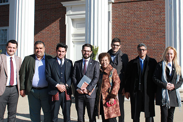 Members of the international delegation outside of the University of Louisville School of Law.