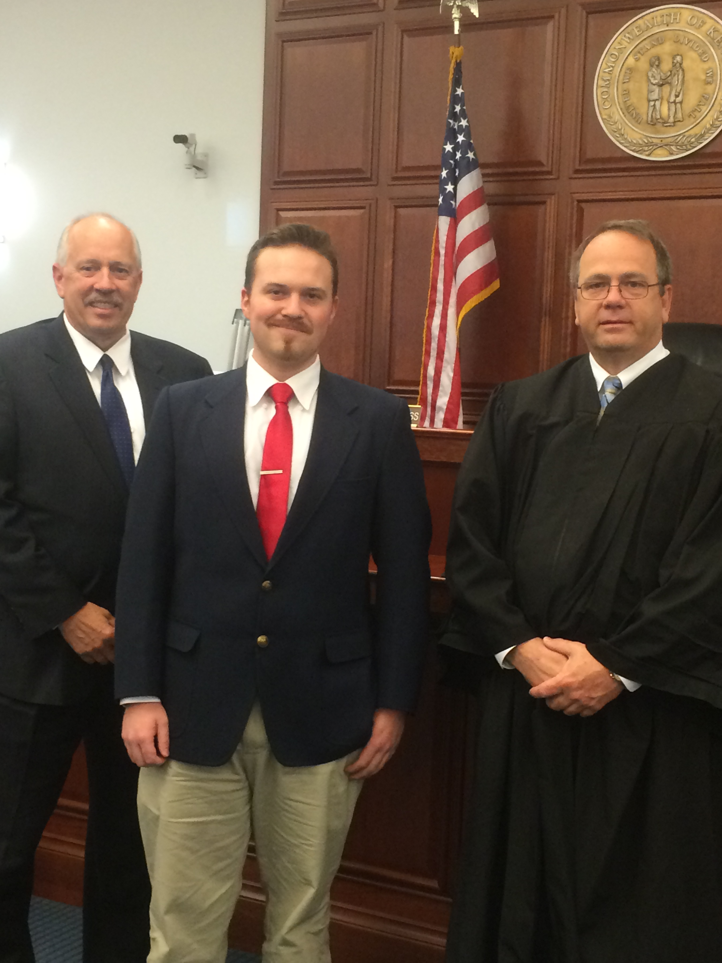 Photo of Jonathan Max Allen, Bullitt County Commonwealth's Attorney Michael Mann and Circuit Court Judge Rodney Burress