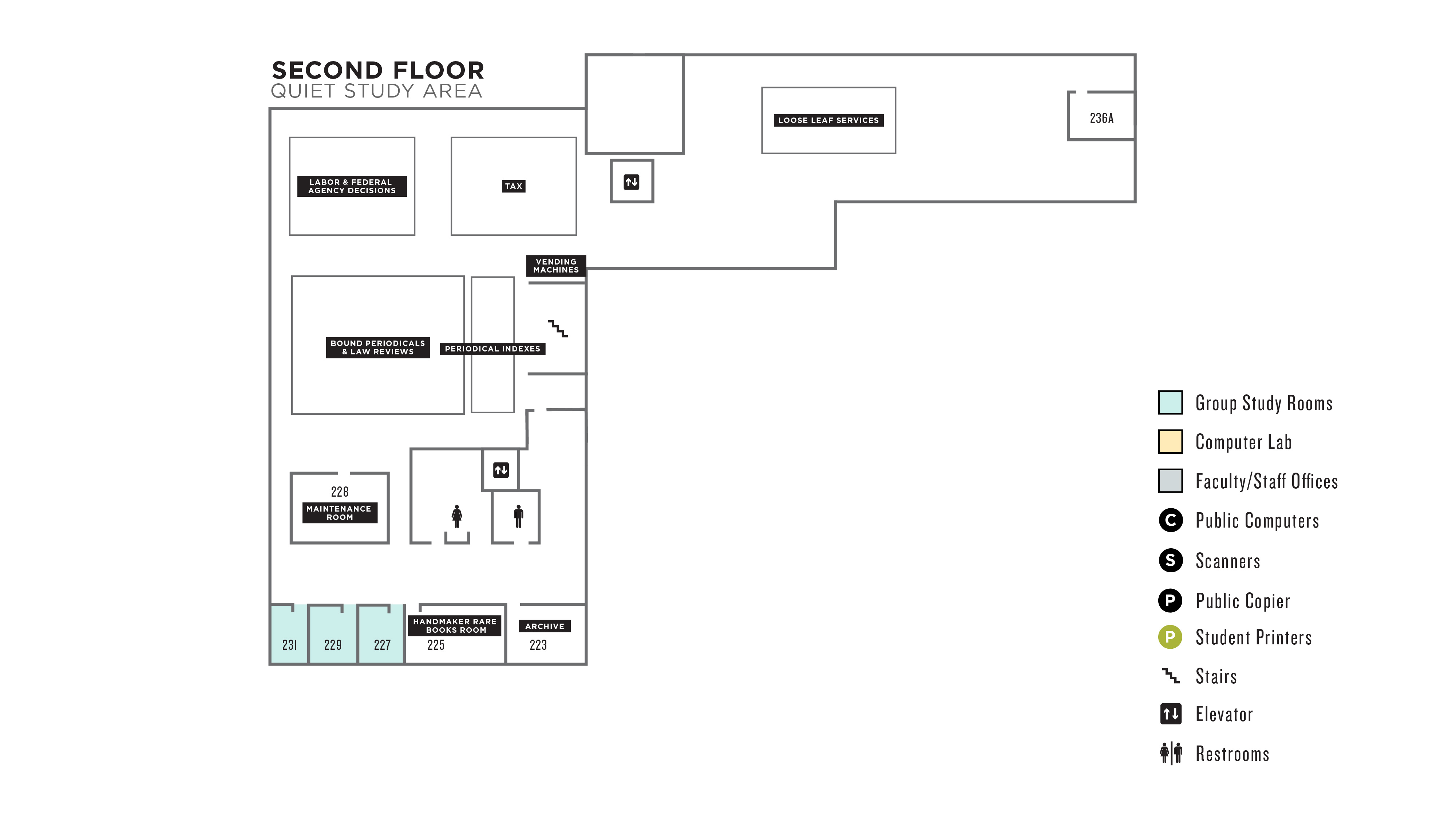 Floorplan of the 2nd floor of the Law Library.