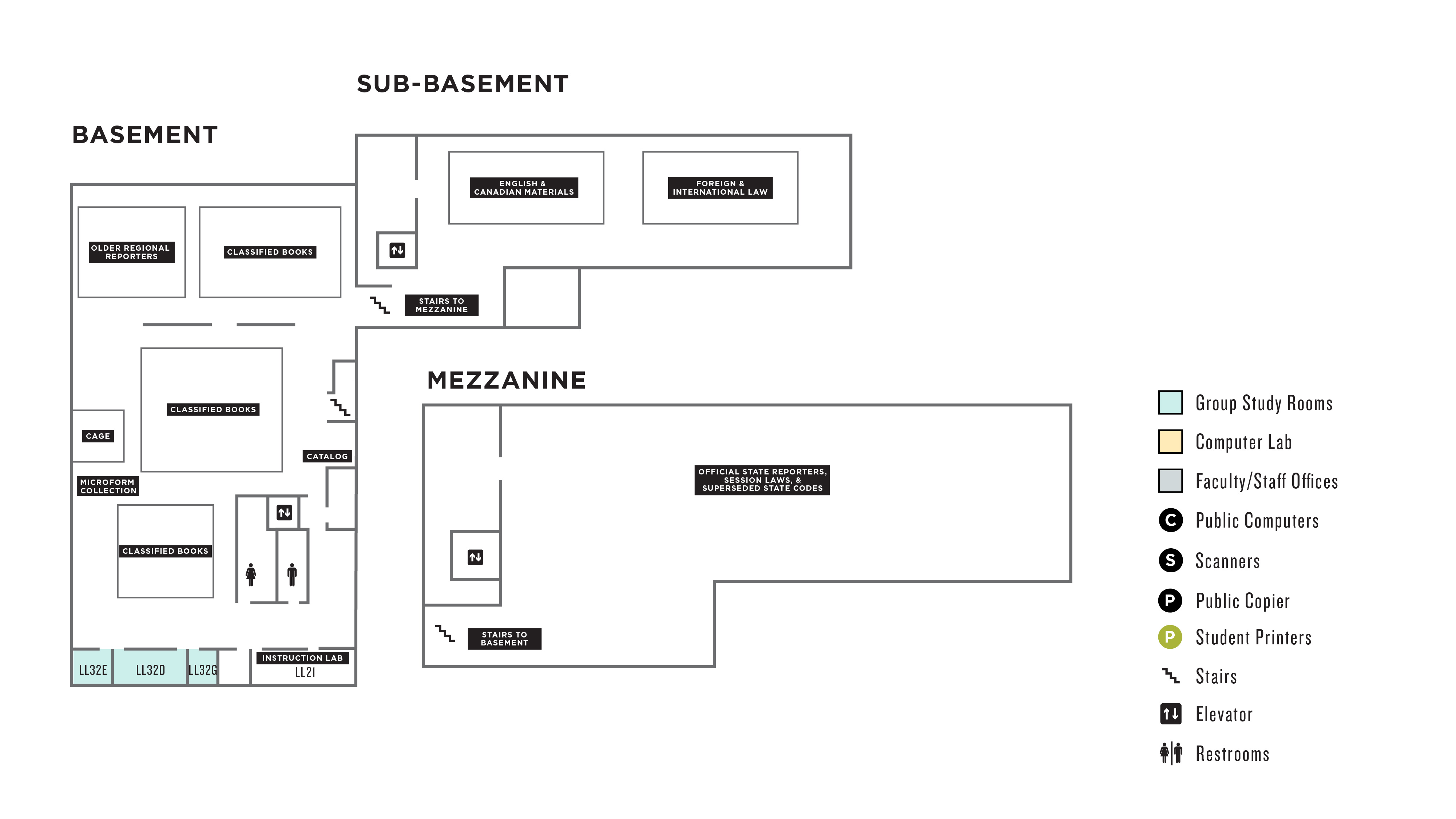 Floorplan of the basement of the Law Library.