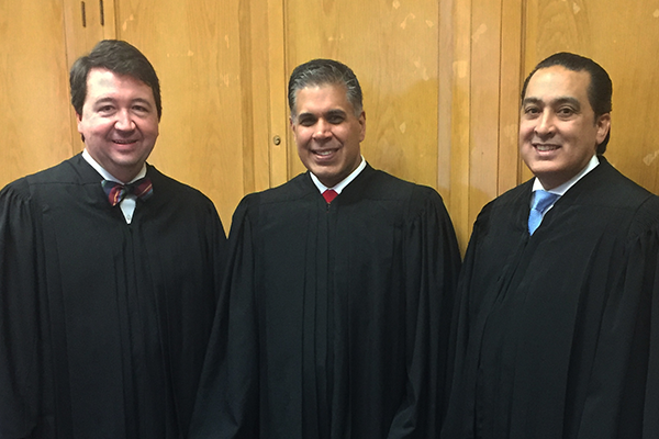 From left, Judge John Bush, Judge Amul Thapar and Judge John Nalbandian of the U.S. Court of Appeals for the Sixth Circuit.