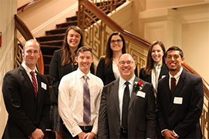 Professor Tony Arnold with students Alumni Awards 2018