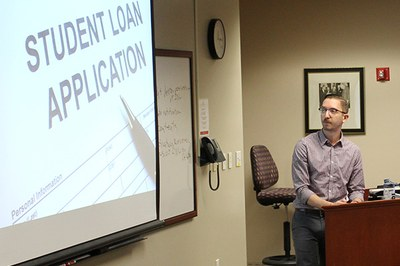 Brandon Hanson with Equal Justice Works educates Brandeis Law students about managing student loan debt.