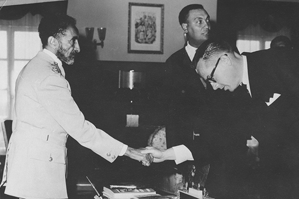 Professor Larry Knowles met Haile Selassi I, emperor of Ethiopia, in 1966 when he was a visiting professor at Haile Selassi I University.